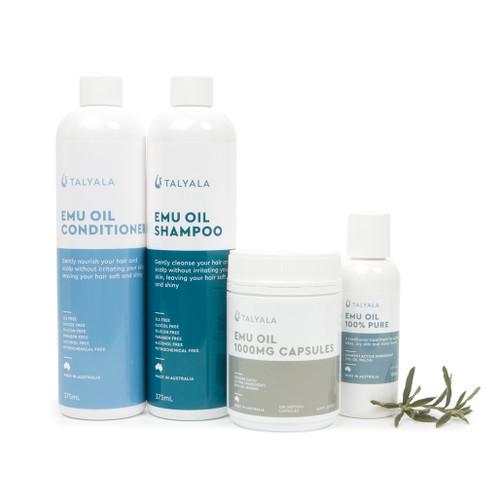 Special; 1 x Jar 100mg Emu Oil Capsules, 1 x 100ml Pure Emu Oil, 1 x Shampoo, 1 x Conditioner