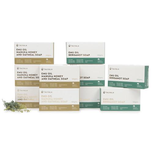 Emu Oil Soap - 5 x Manuka Honey & Oatmeal, 5 x Bergamot