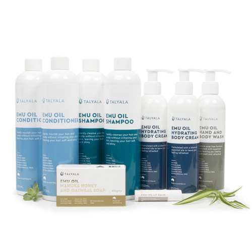 2 x Emu Oil Shampoo, 2 x Emu Oil Conditioner, 2 x Hydrating Body Cream, Emu Oil Body Wash, Emu Oil Soap, Emu Oil Lip Balm