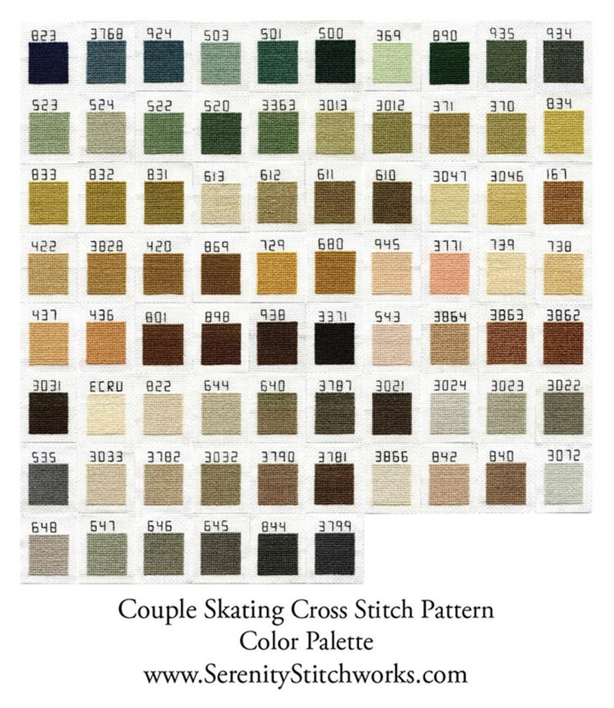 Couple Skating Cross Stitch Pattern