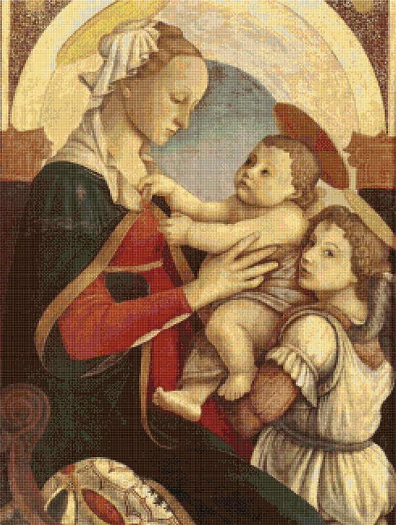 Madonna and Child with an Angel Cross Stitch Chart - Sandro Botticelli