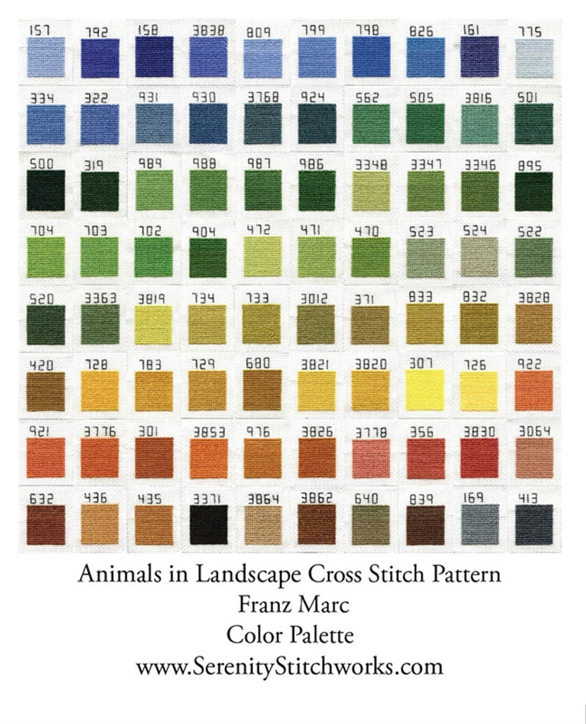Animals in Landscape Cross Stitch Chart - Franz Marc