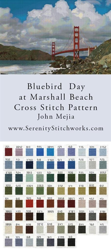 Bluebird Day at Marshall Beach Cross Stitch Pattern - John Mejia
