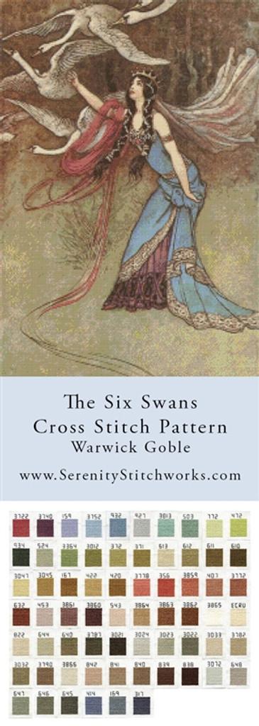 The Six Swans Cross Stitch Pattern - Warwick Goble