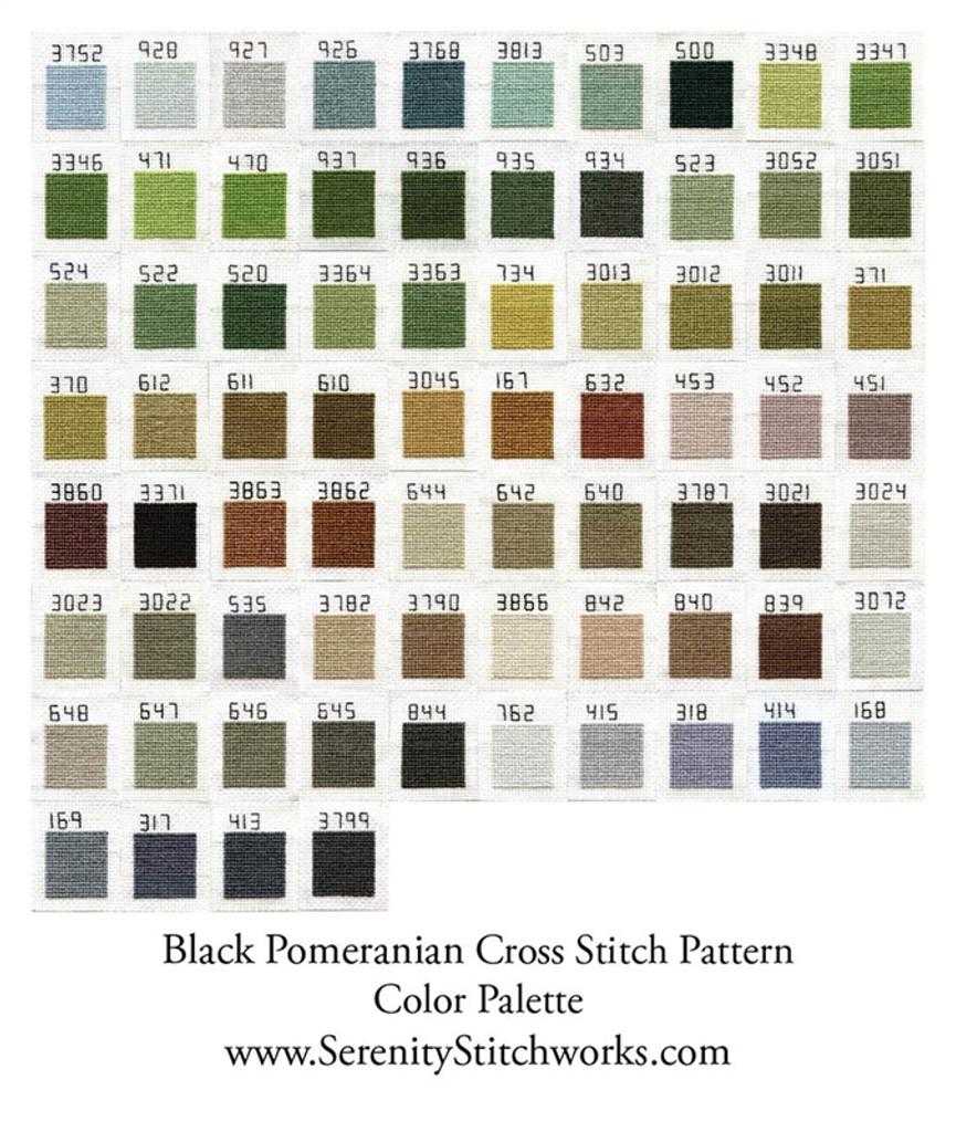 Black Pomeranian - Cross Stitch Chart