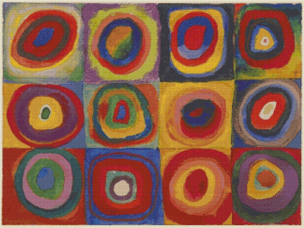 Farbstudie Quadrate Cross Stitch Pattern - Wassily Kandinsky