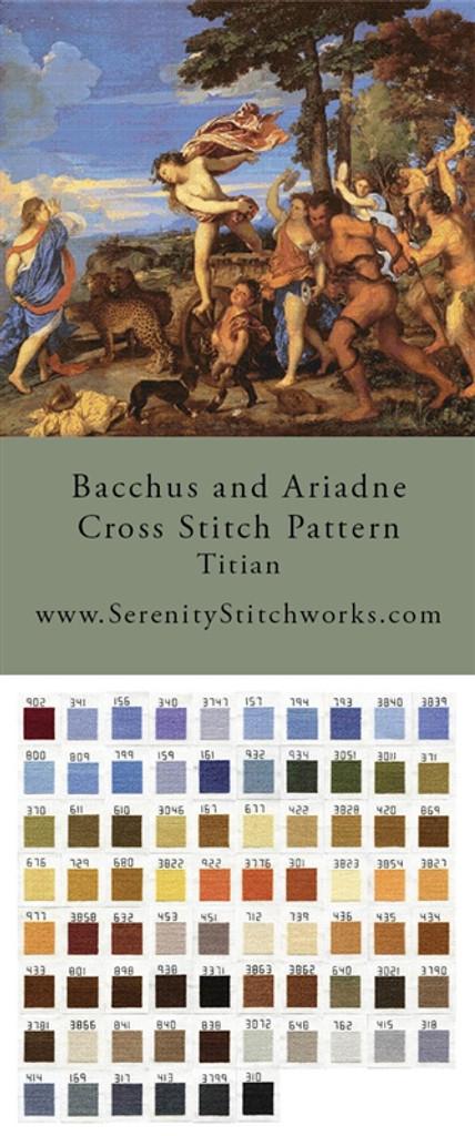 Bacchus and Ariadne Cross Stitch Pattern - Titian
