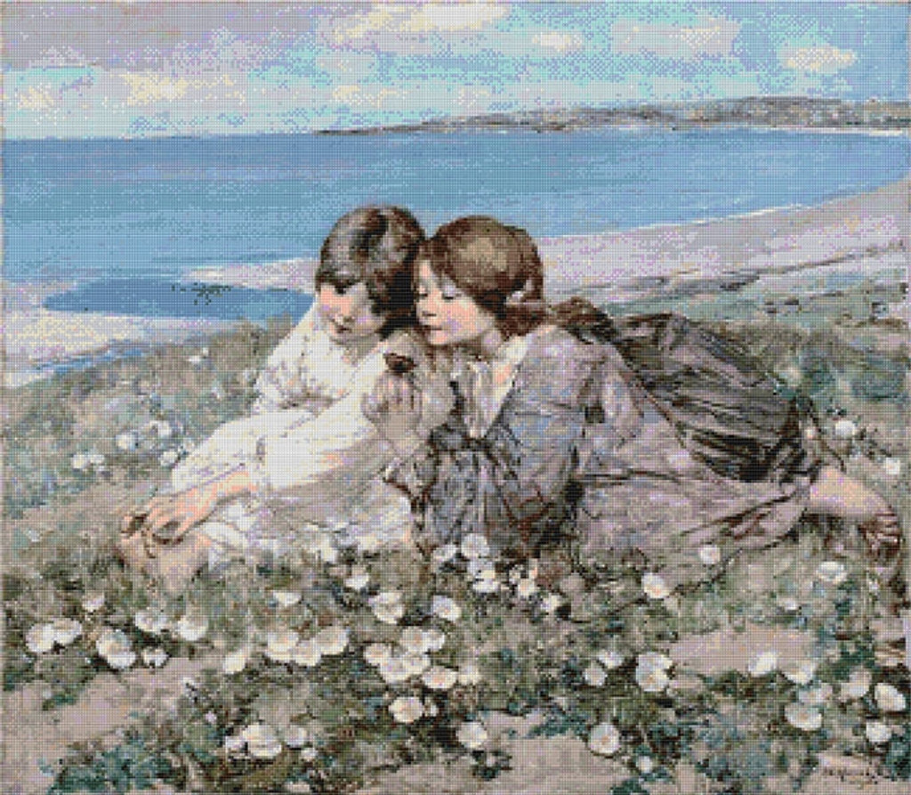 Seashore Roses Cross Stitch Pattern - Edward Atkinson Hornel