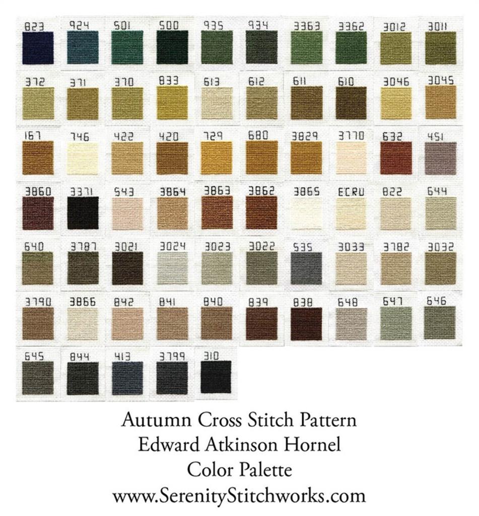 Autumn Cross Stitch Pattern - Edward Atkinson Hornel