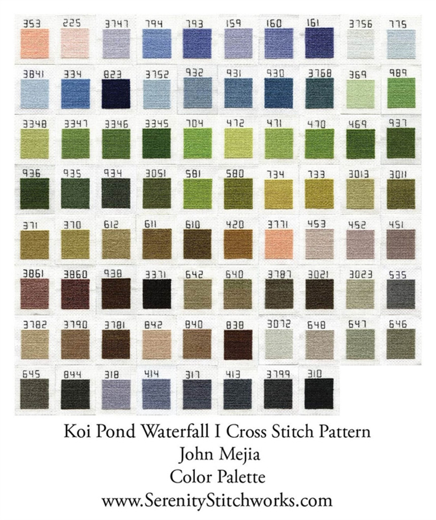 Koi Pond Waterfall I Cross Stitch Pattern - John Mejia
