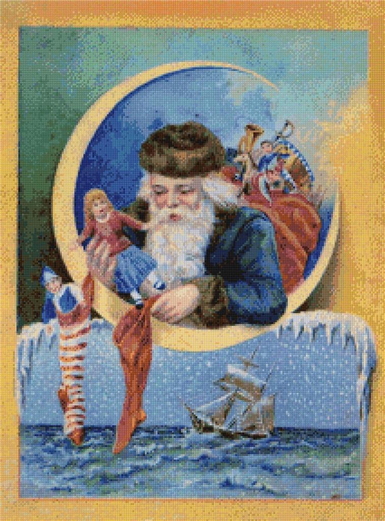 Santa Hanging Stockings Cross Stitch Pattern