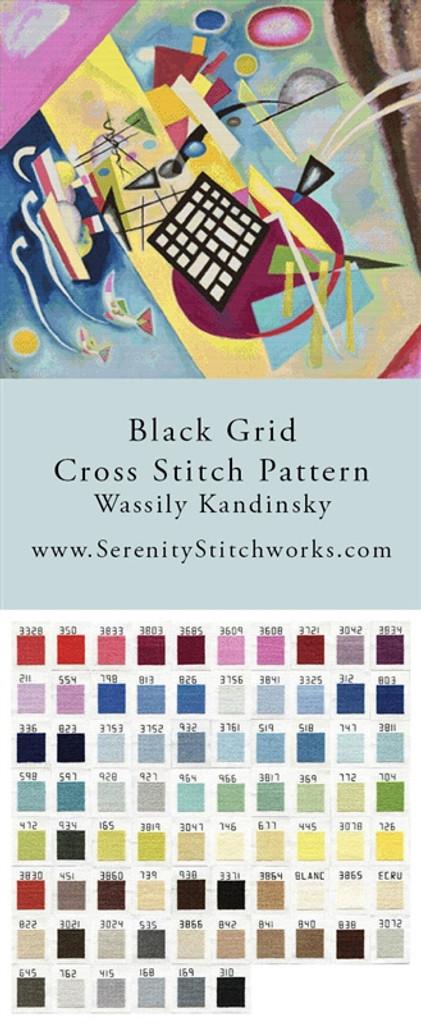 Black Grid Cross Stitch Pattern - Wassily Kandinsky