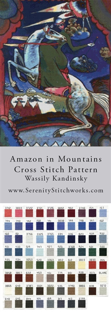 Amazon in Mountains Cross Stitch Pattern - Wassily Kandinsky