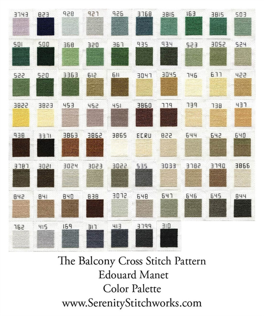 The Balcony Cross Stitch Chart - Edouard Manet