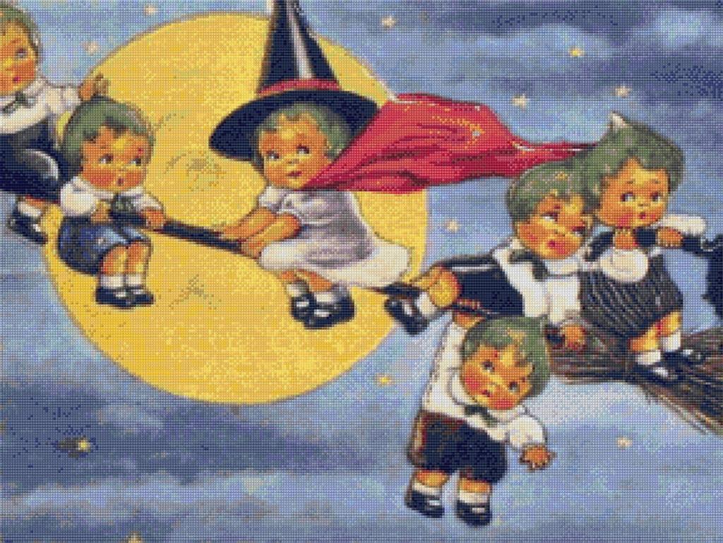 Halloween Elves Cross Stitch Pattern