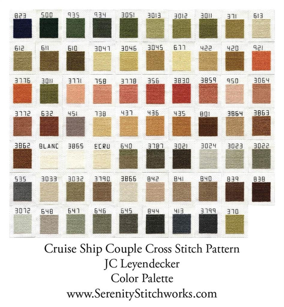 Cruise Ship Couple Cross Stitch Pattern - JC Leyendecker