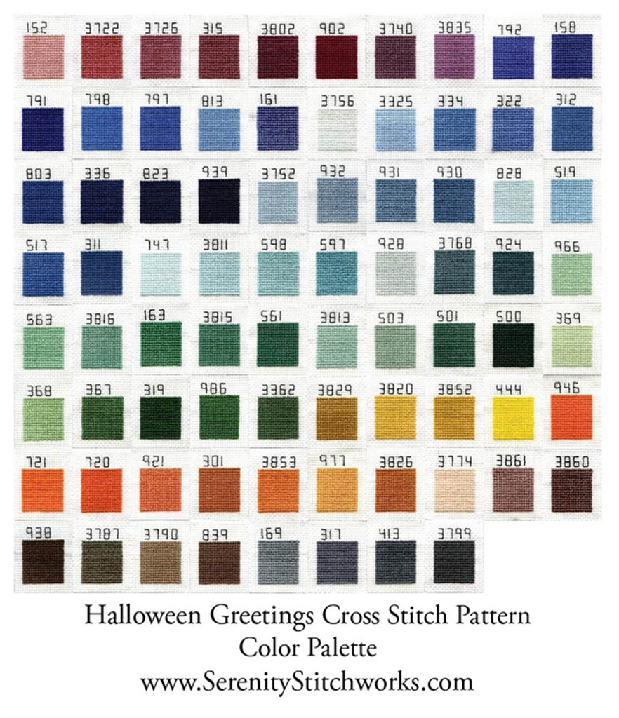 Halloween Greetings Cross Stitch Pattern