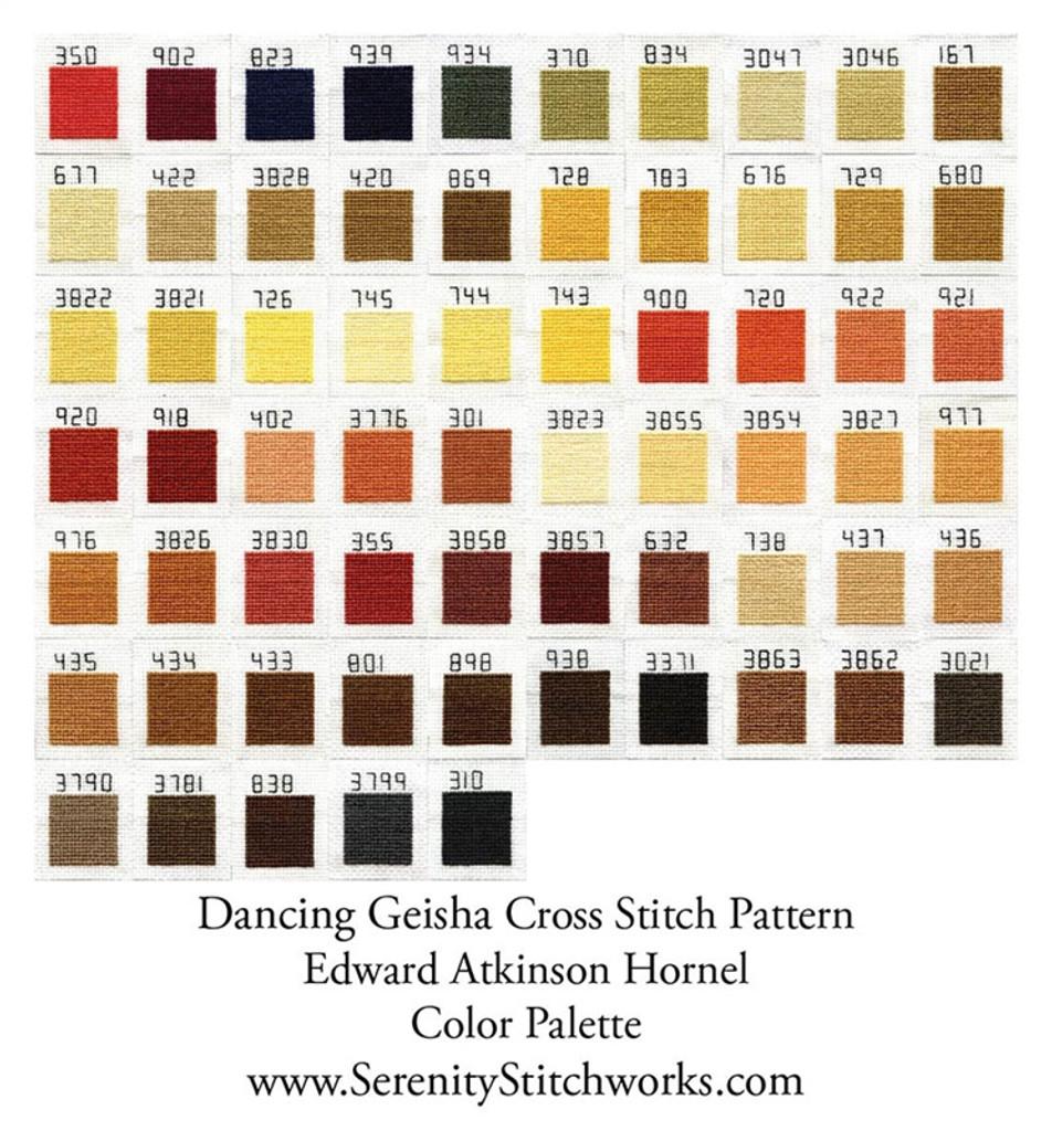 Dancing Geisha Cross Stitch Pattern - Edward Atkinson Hornel