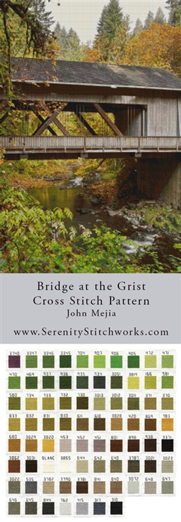 Bridge at the Grist Cross Stitch Pattern - John Mejia