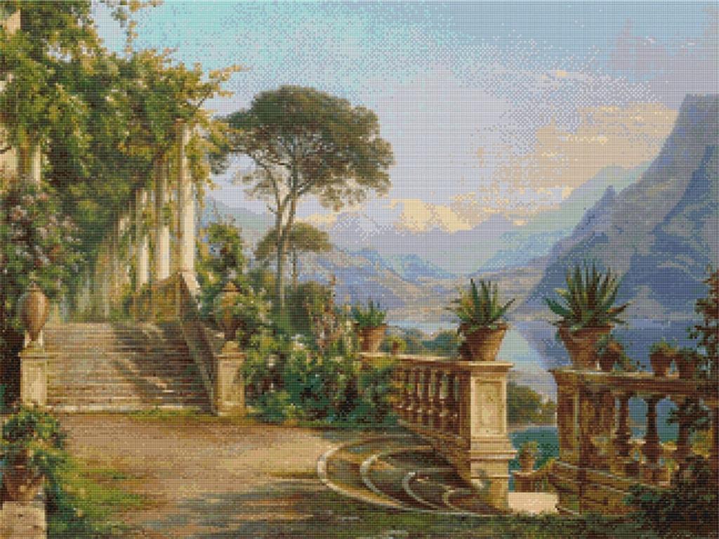 Lodge on Lake Como Cross Stitch Pattern - Carl Frederic Aagaard