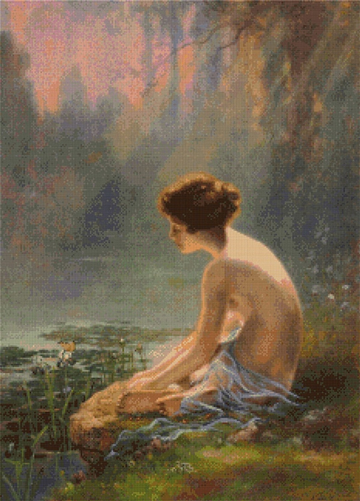 Seated Nude at Lily Pond Cross Stitch Pattern - Louis Comfort Tiffany