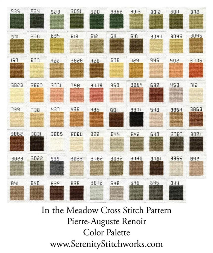 In the Meadow Cross Stitch Pattern - Pierre-Auguste Renoir
