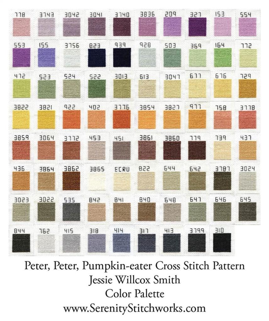 Peter, Peter, Pumpkin-eater Cross Stitch Chart - Jessie Willcox Smith