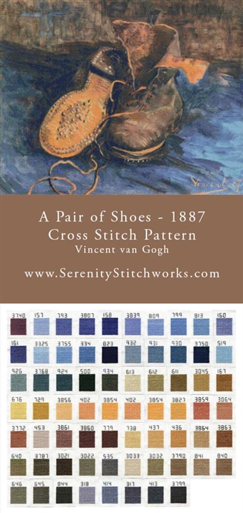 A Pair of Shoes - 1887 Cross Stitch Pattern - Vincent van Gogh