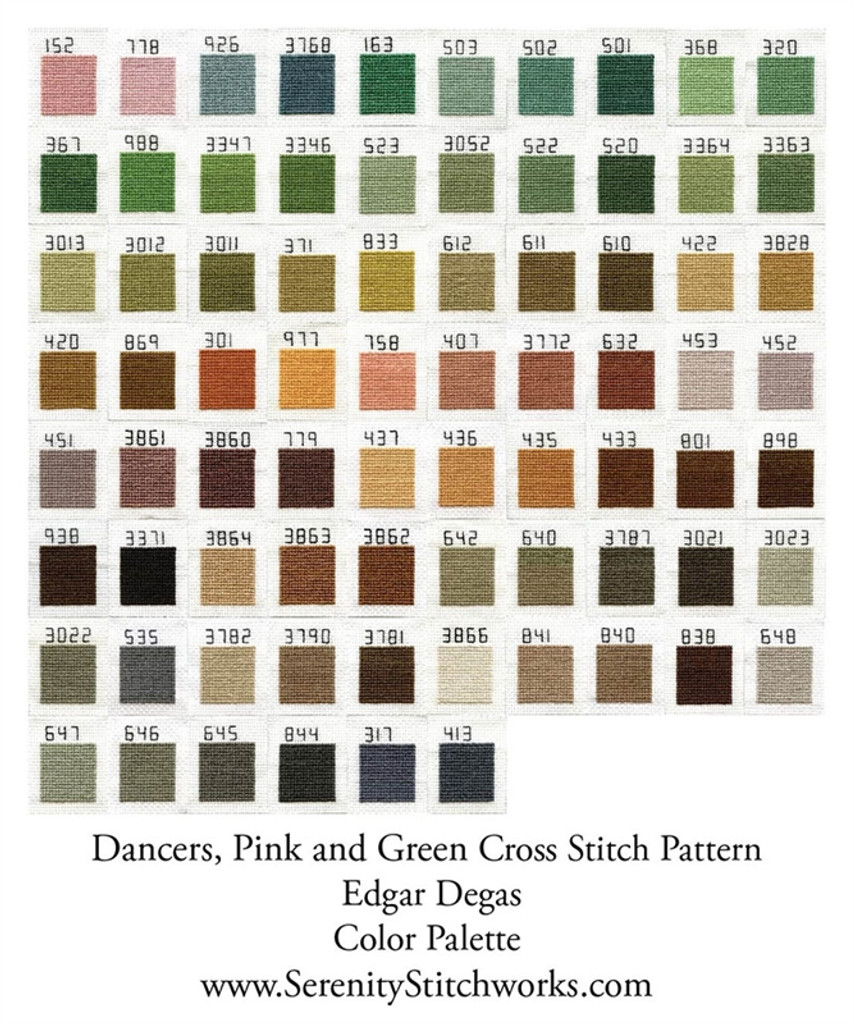 Dancers, Pink and Green Cross Stitch Chart - Edgar Degas