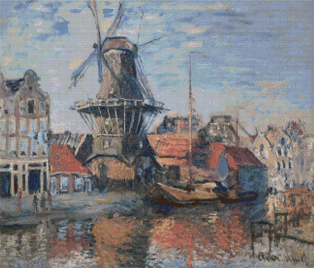 The Windmill on the Onbekende Canal, Amsterdam Cross Stitch Pattern - Claude Monet