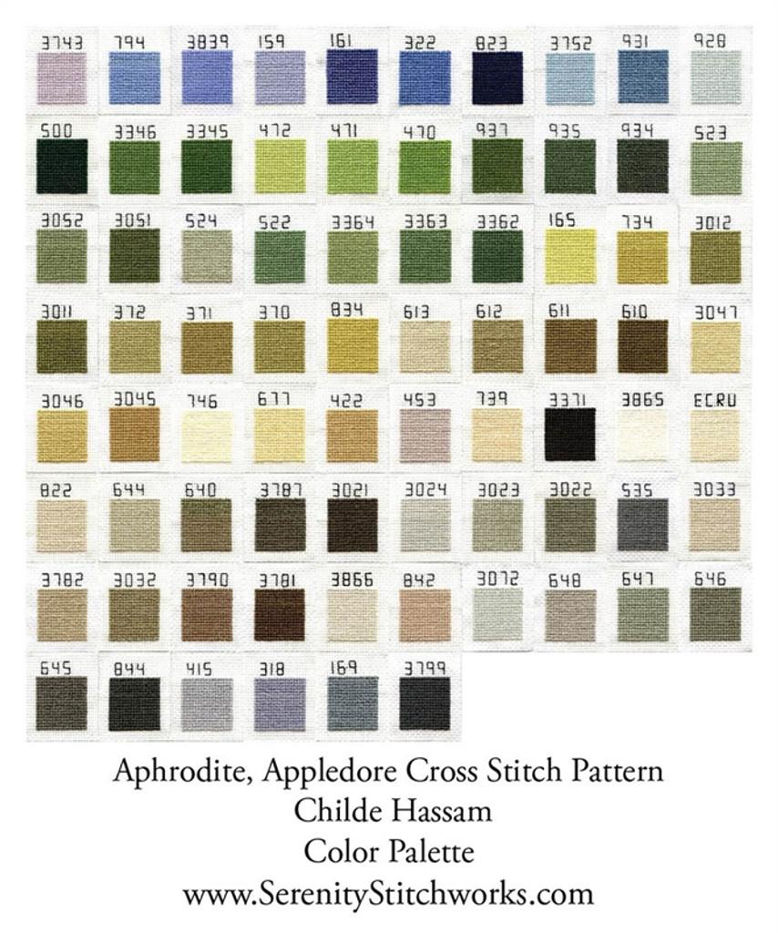 Aphrodite, Appledore Cross Stitch Pattern - Childe Hassam