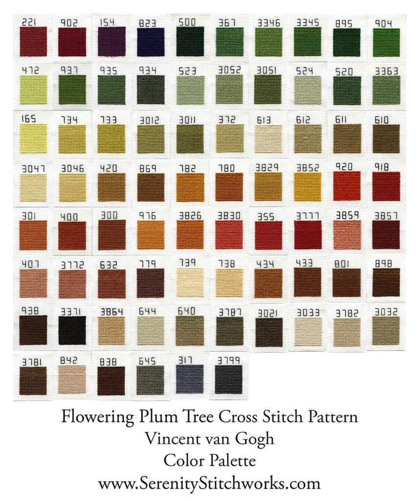 Flowering Plum Tree Cross Stitch Pattern - Vincent van Gogh