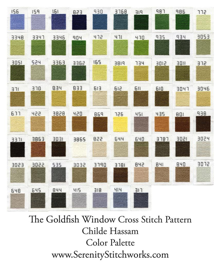 The Goldfish Window Cross Stitch Pattern - Childe Hassam
