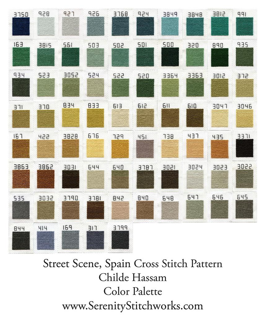 Street Scene, Spain Cross Stitch Pattern - Childe Hassam