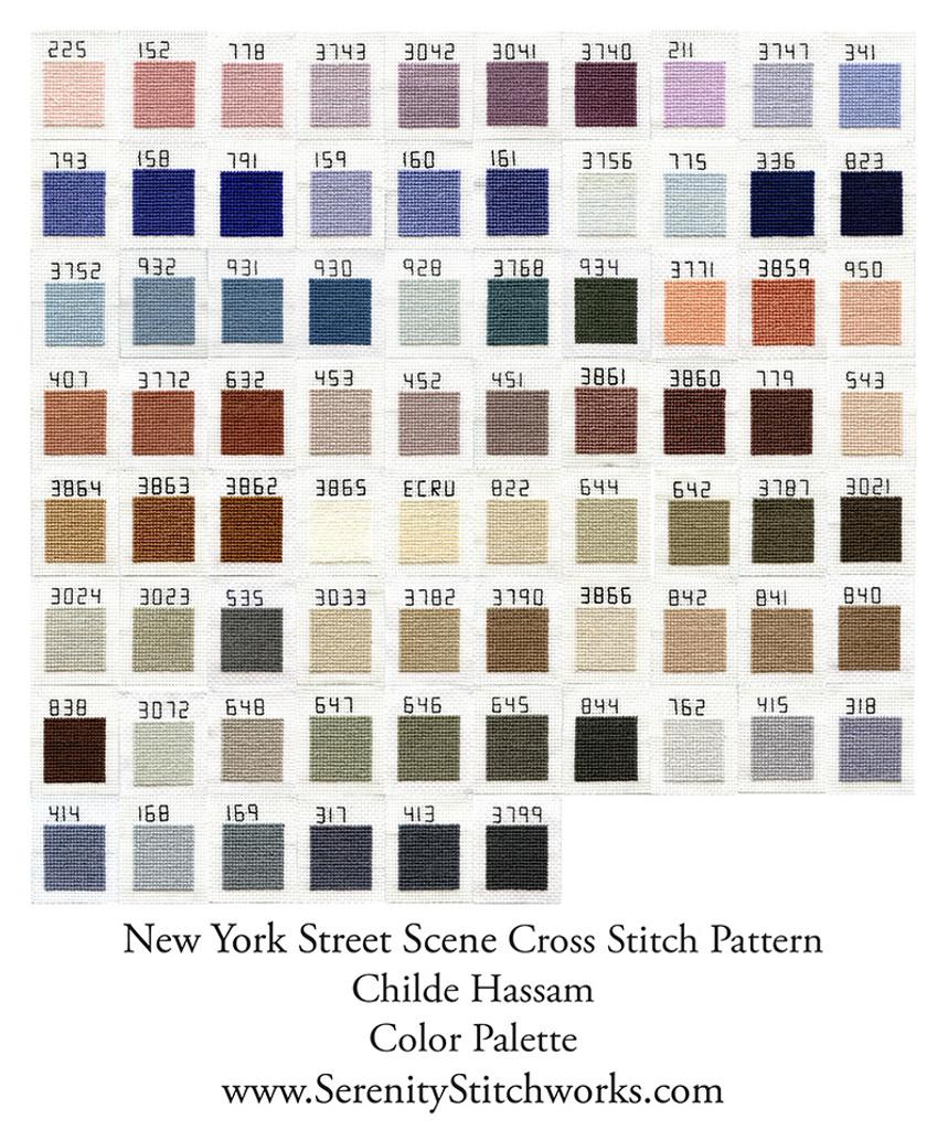 New York Street Scene Cross Stitch Pattern - Childe Hassam