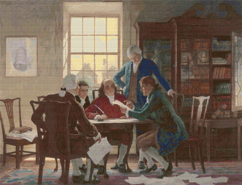 Drafting the Declaration of Independence Cross Stitch Pattern - N.C. Wyeth