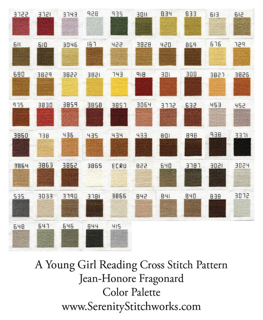 A Young Girl Reading Cross Stitch Pattern - Jean-Honoré Fragonard
