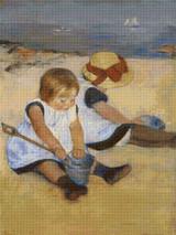 Children on the Shore Cross Stitch Pattern - Mary Cassatt