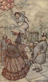 Balloons - Peter Pan in Kensington Garden Cross Stitch Pattern - Arthur Rackham