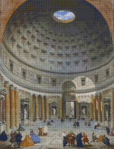 Interior of the Pantheon, Rome Cross Stitch Pattern - Giovanni Paolo Panini