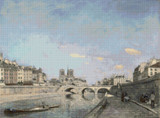 The Seine and Notre-Dame in Paris Cross Stitch Pattern - Johan Jongkind