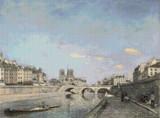 The Seine and Notre-Dame in Paris Cross Stitch Pattern - Johan Jongkind