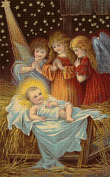 Baby Jesus and Angels Cross Stitch Chart
