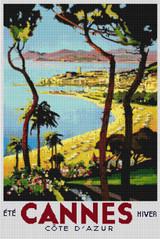 Cannes Vintage Travel Poster Cross Stitch Pattern