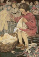 Little Seamstress Cross Stitch Pattern - Jessie Willcox Smith