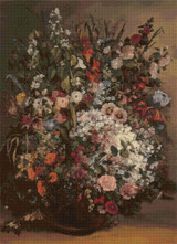 Bouquet of Flowers Cross Stitch Pattern - Gustave Courbet