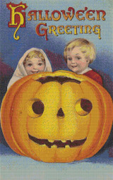 Boy and Girl Halloween Greeting Cross Stitch Pattern