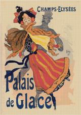 Palais de Glace, Champs-Elysees Cross Stitch Pattern -  Jules Cheret