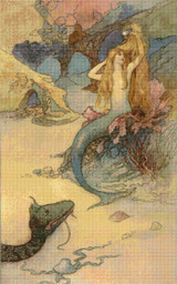 The Mermaid and the Dragon Cross Stitch Pattern - Warwick Goble
