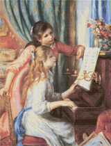 Two Young Girls at the Piano Cross Stitch Pattern - Pierre-Auguste Renoir